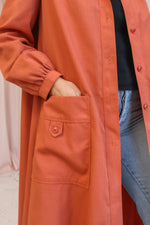 VintageLongline Coat in Tangerine - S - Dirty Disco