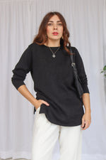 VintageMetallic Merino Wool Blend Jumper in Black - Dirty Disco