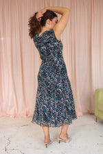 VintageSilk Midi Dress in Black Floral Print - Dirty Disco