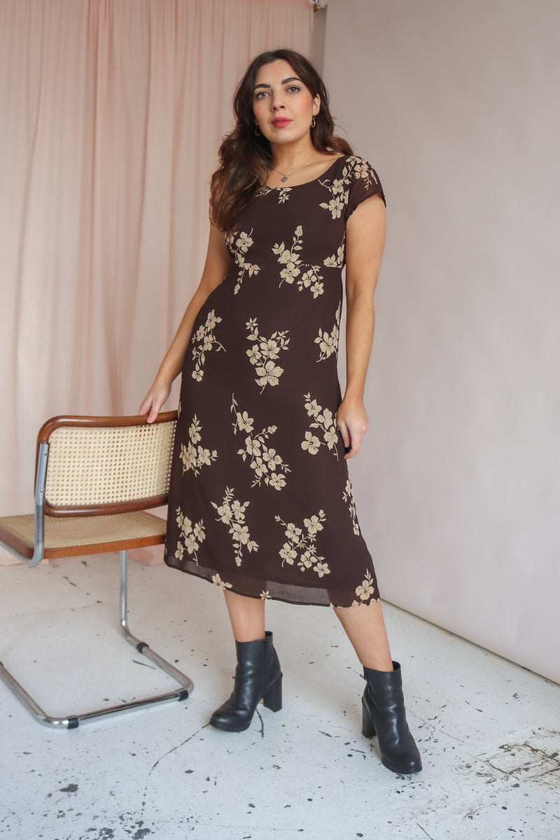 Midi Dress in Brown Floral Print - UK 10