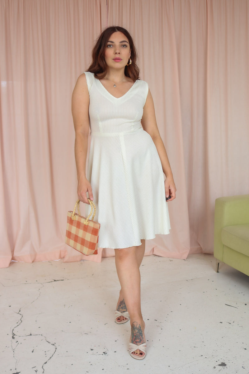 VintageMidi Dress in Ivory Ribbed Knit - Dirty Disco