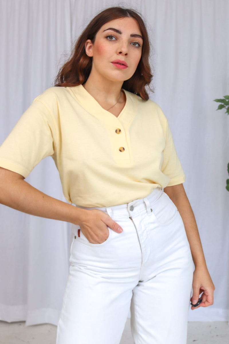 VintageOversized Top in Lemon - Dirty Disco
