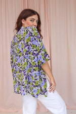 VintageOversized Blouse in Green Floral Print - Dirty Disco
