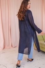 VintageSemi Sheer Zebra Pattern Duster in Navy - Dirty Disco