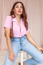 VintageShort Sleeve Blouse in Baby Pink - Dirty Disco