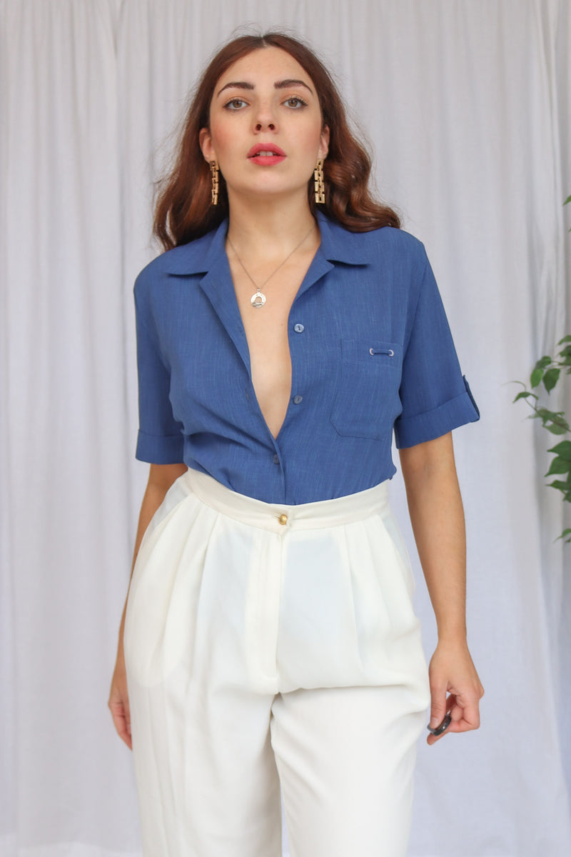 VintageShort Sleeve Blouse in Blue - Dirty Disco