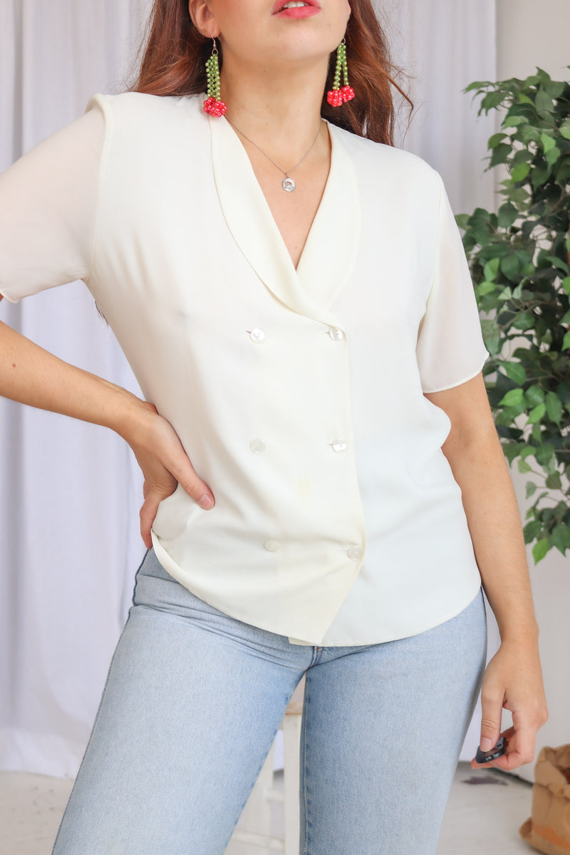 VintageShort Sleeve Blouse in Ivory - Dirty Disco
