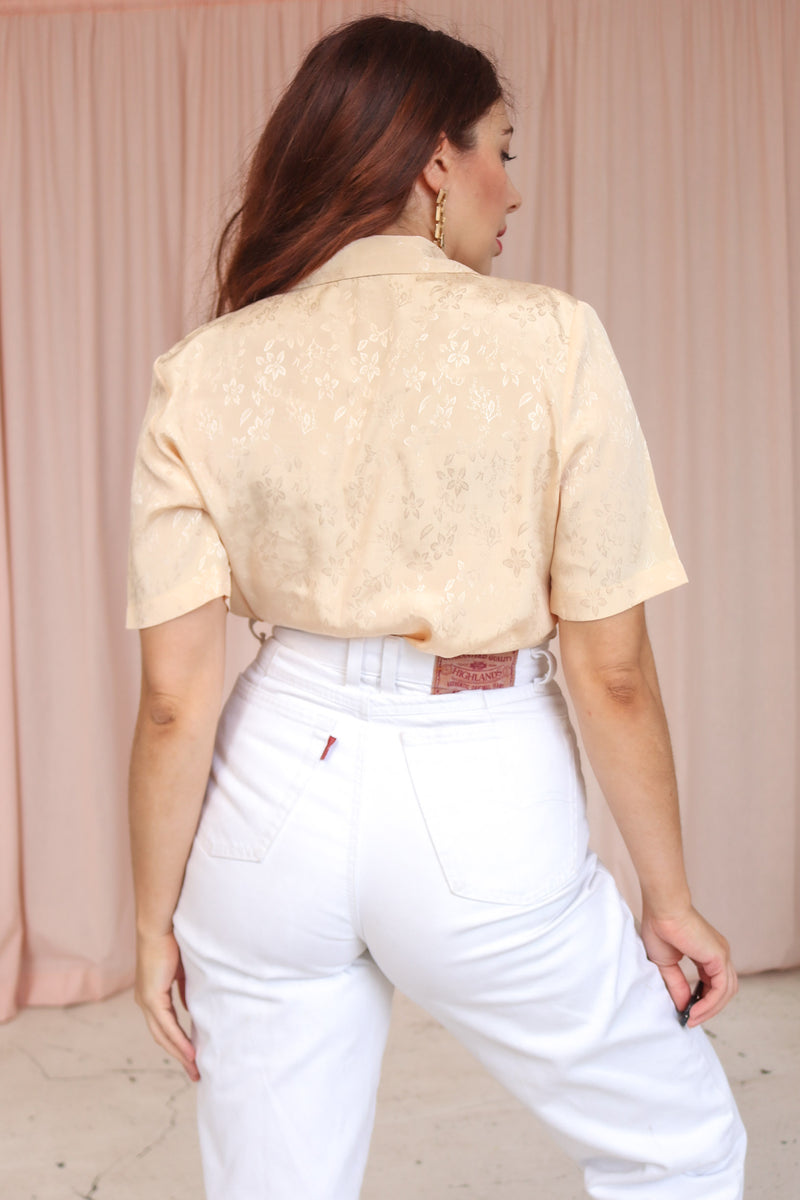 VintageShort Sleeve Blouse in Peach Jacquard - Dirty Disco
