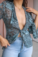 VintageSilk Blend Tie Front Blouse in Sage - M - Dirty Disco