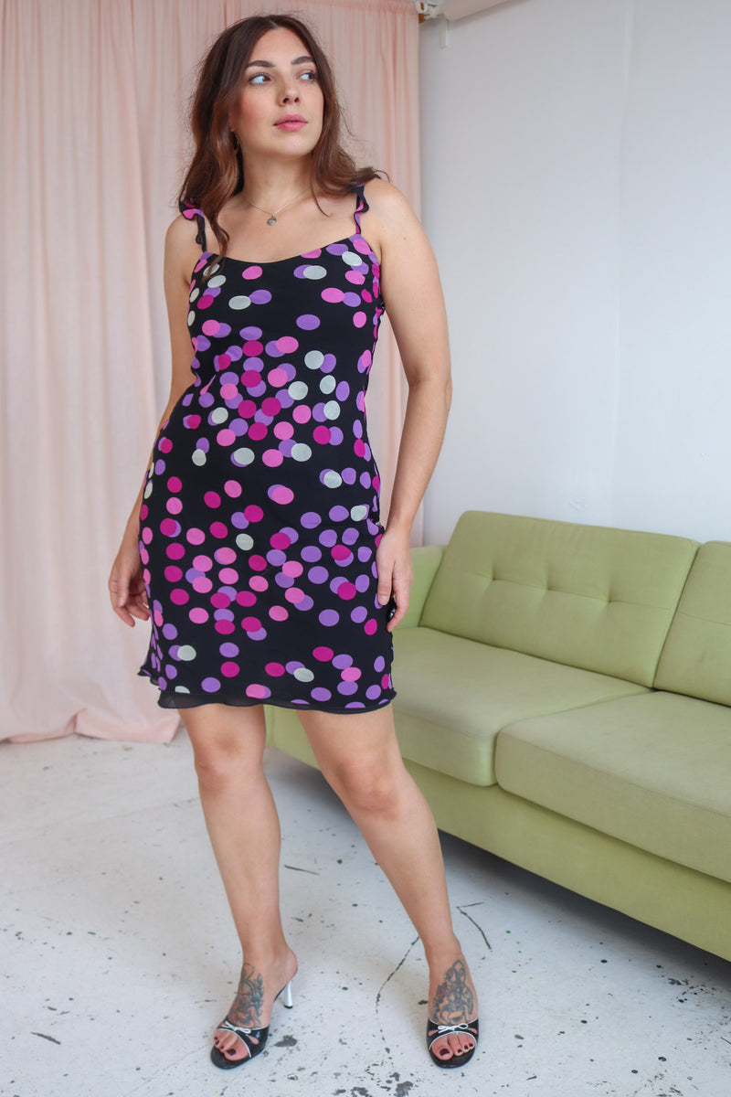 VintageSlip Dress in Purple Spotty Print - Dirty Disco