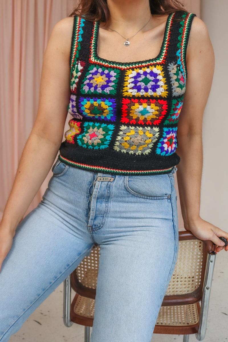VintageCrochet Knit Vest in Black - Dirty Disco