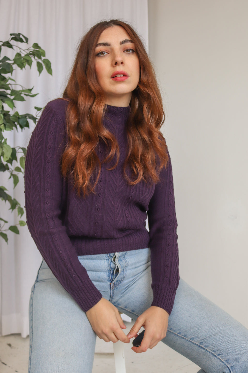 VintageTurtleneck Jumper in Purple - Dirty Disco