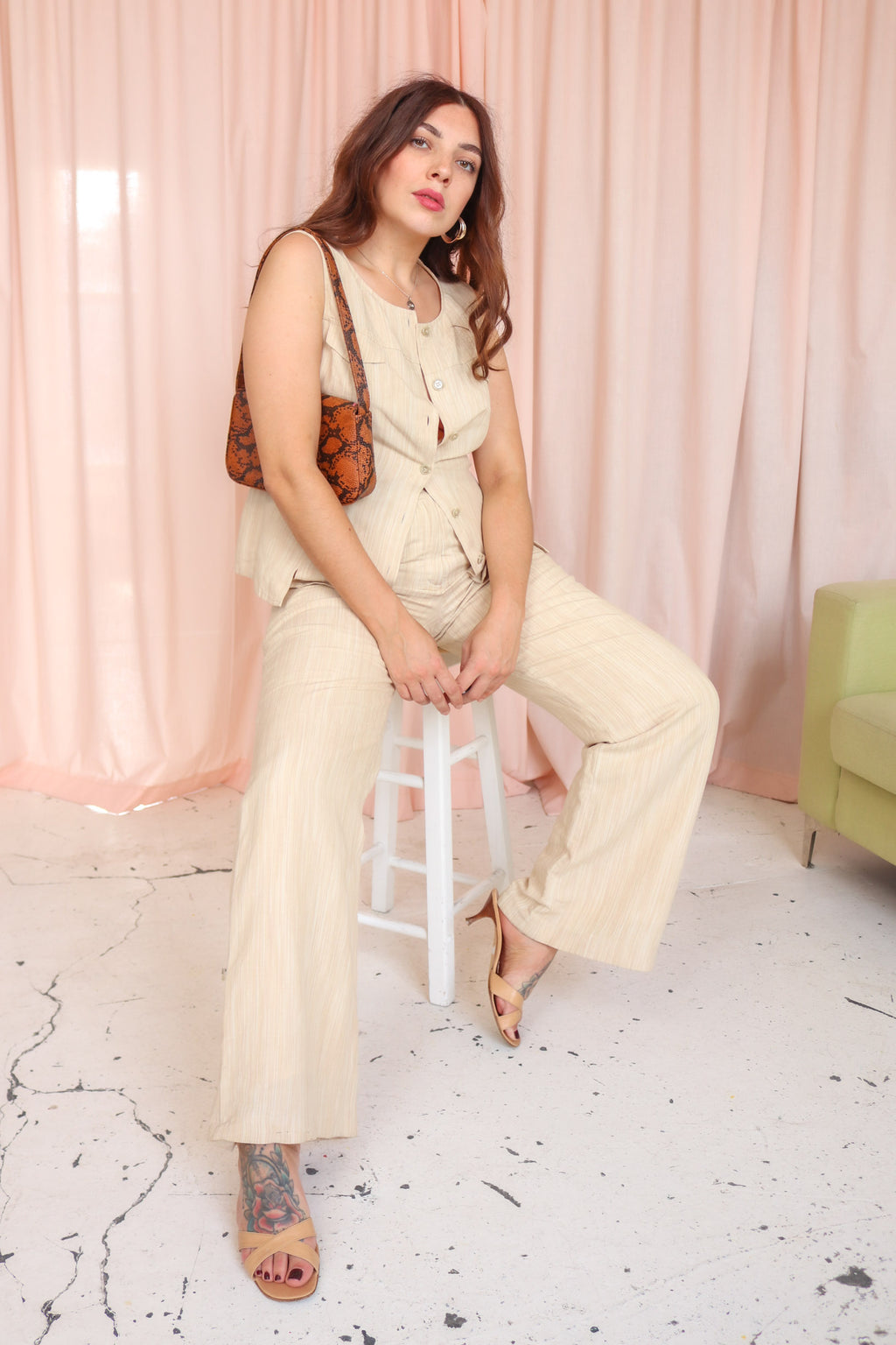Paul CostelloeTwo Piece Trouser Suit in Cream - Dirty Disco