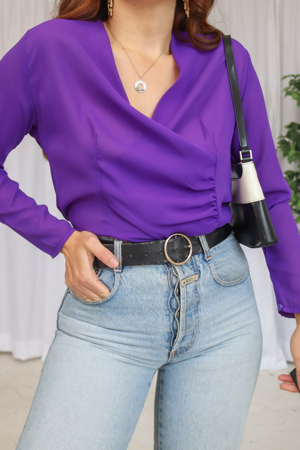 VintageWrap Blouse in Purple - Dirty Disco