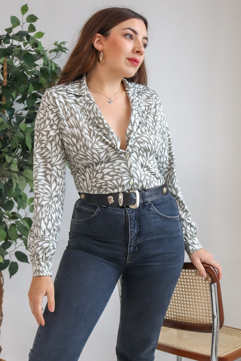VintageHeart Print Blouse in Grey - XS - Dirty Disco