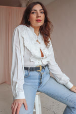 Blouse in Ivory with Floral Embroidery - UK 16