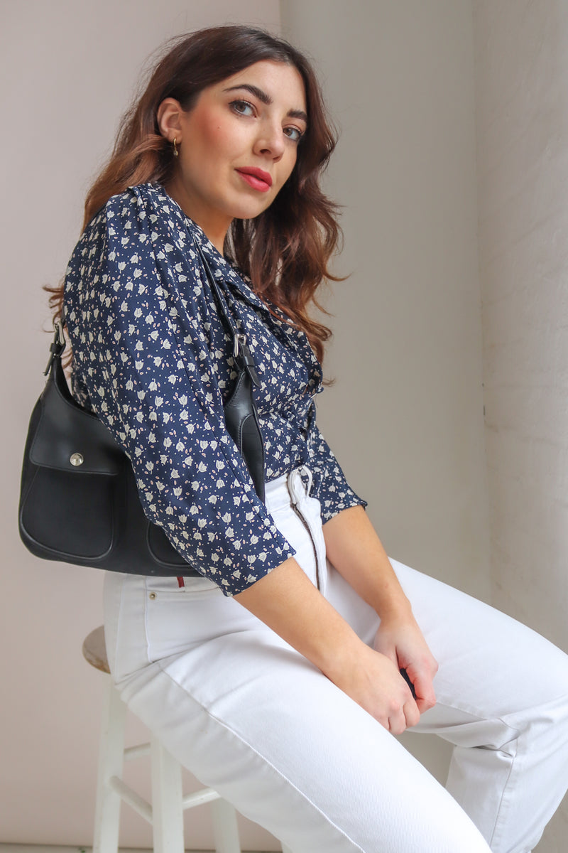 Blouse in Navy Ditsy Floral Print - UK 12