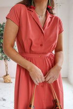 Button Through Midi Dress in Coral - M