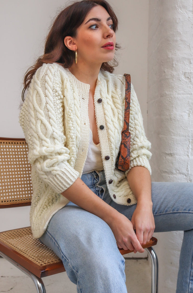 VintageCable Knit Cardigan in Cream - S - Dirty Disco
