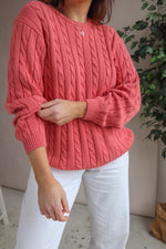 Cable Knit Jumper in Salmon Pink - M