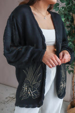 Cardigan in Black with Gold Embroidery - L