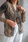 Cardigan in Tan Abstract Print - S