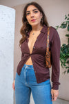 Silk Blouse in Chocolate - M