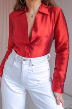 Semi-Sheer Organza Shirt in Red - S