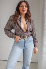 VintageDitsy Floral Print Blouse in Grey - S - Dirty Disco