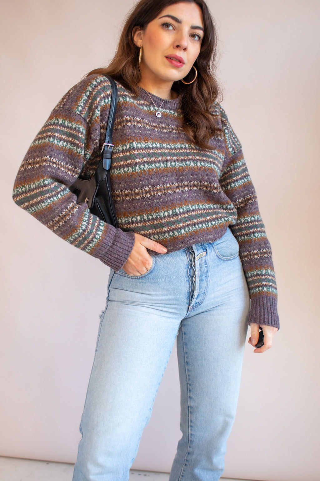 VintageFairisle Jumper in Purple - Dirty Disco