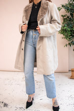 Faux Fur Collared Coat in Stone - L