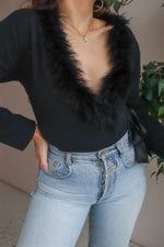 Feather Edged Wrap Cardigan in Black - L