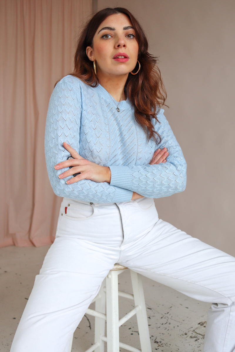 Holey Knit Jumper in Baby Blue - UK 10