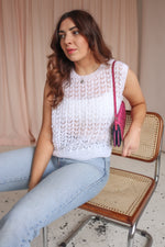 Holey Knit Vest Top in White - UK 12