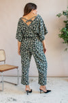 VintageJumpsuit in Green Leaf Print - Dirty Disco