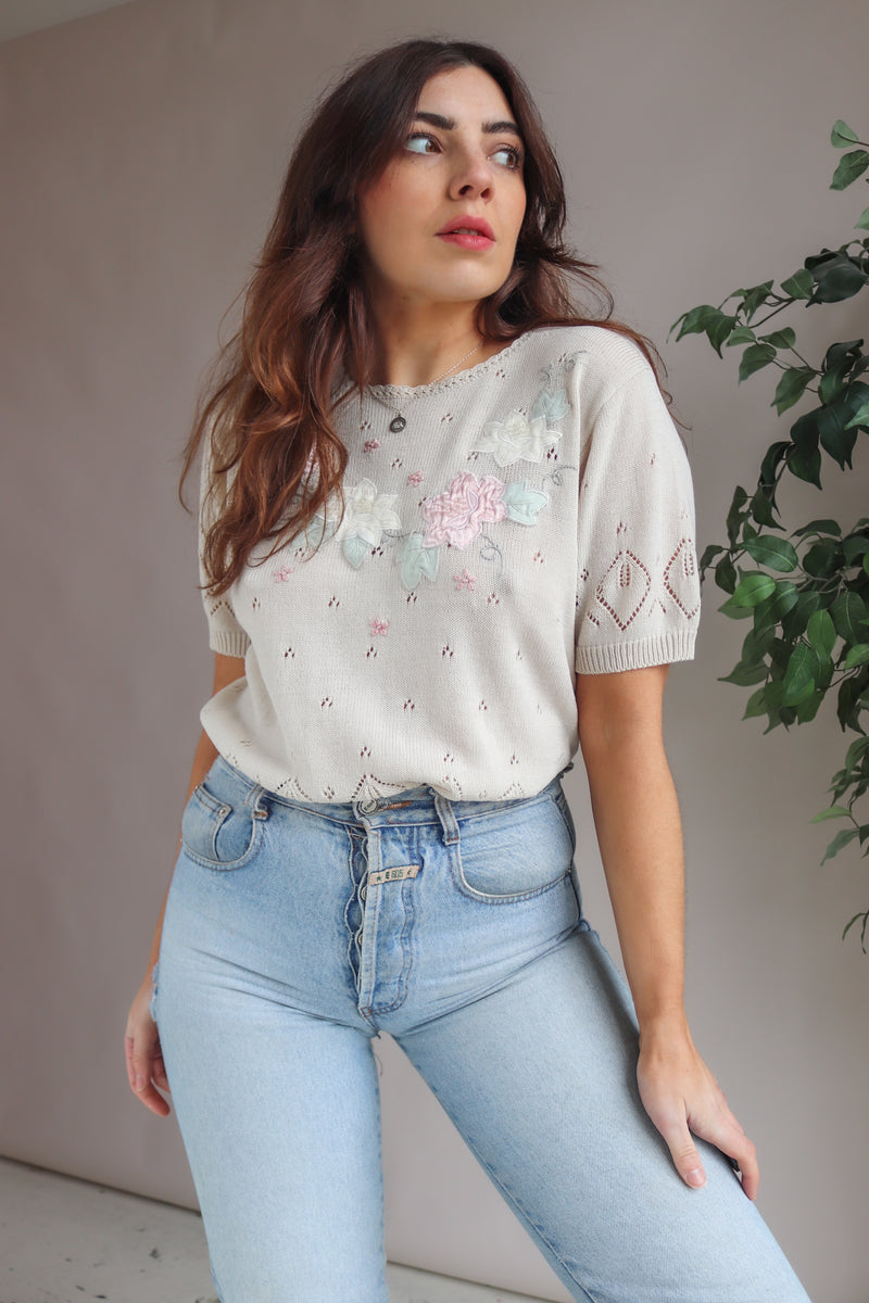Knit Top in Beige with Floral Embroidery - M