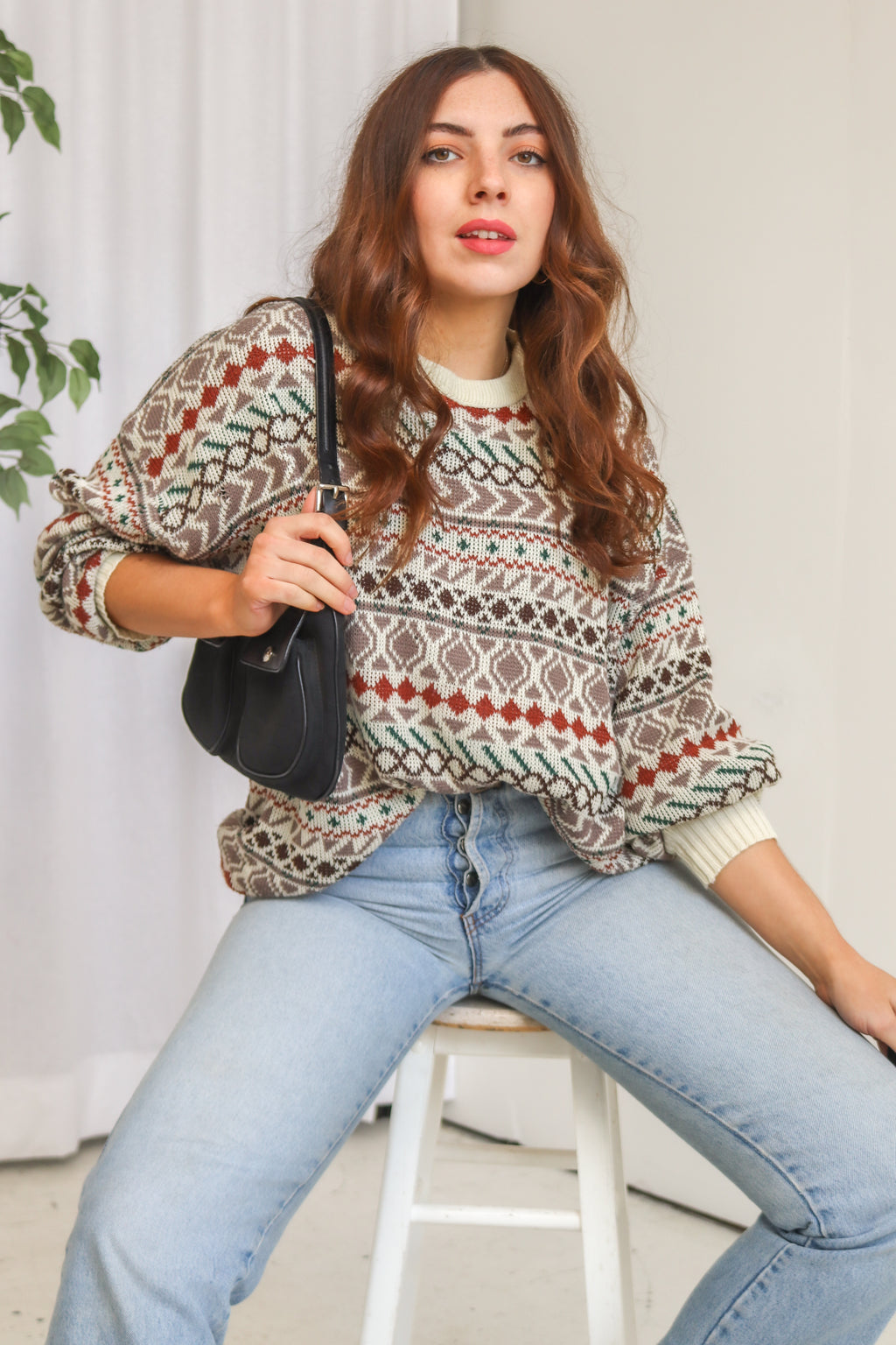 VintageJumper in Fairisle Print - Dirty Disco