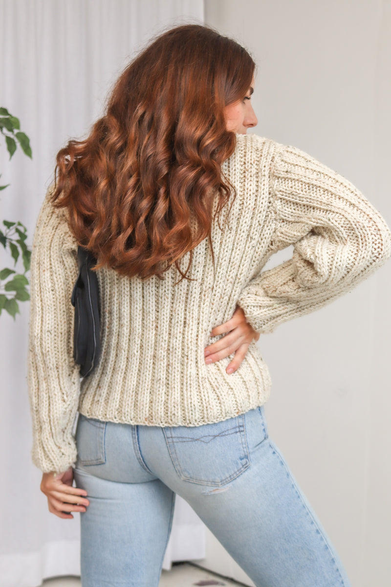 VintageRibbed Knitted Jumper in Cream Fleck - Dirty Disco