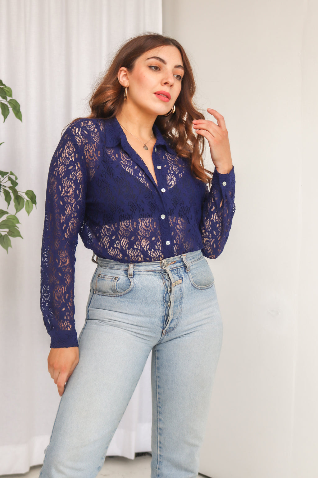 VintageLace Blouse in Navy - Dirty Disco
