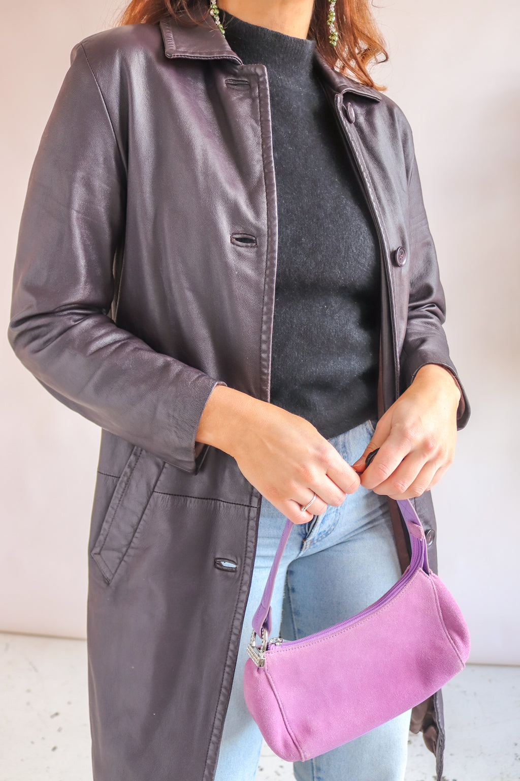 Leather Jacket in Grape - S