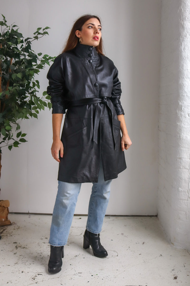 VintageLeather Trench Coat in Black - Dirty Disco
