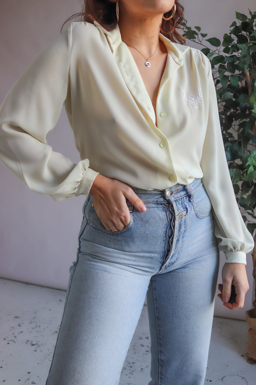 Long Sleeve Blouse in Magnolia - UK 12