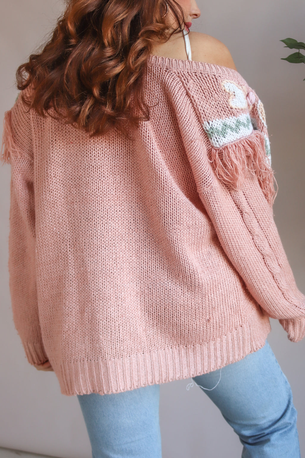 Long Sleeve Cardigan in Pink - S