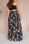 Maxi Skirt in Black Floral Print - XS