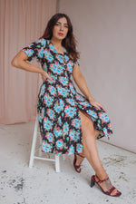 Midi Dress in Black Floral Print - UK 10