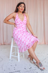 Midi Dress in Pink Floral Print - UK 14