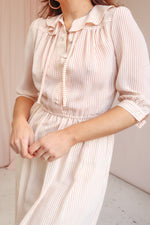 Midi Dress in Pink Pinstripe - UK 10