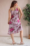 Midi Dress in Pink Rose Print - M
