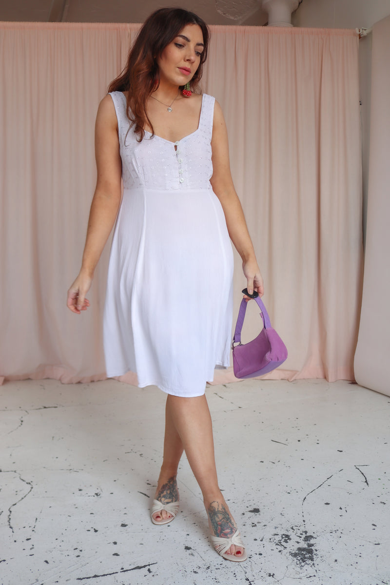 Midi Dress in White Embroidery - UK 10