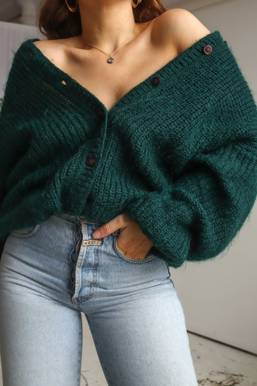 VintageOversized Cardigan in Emerald Green - Dirty Disco